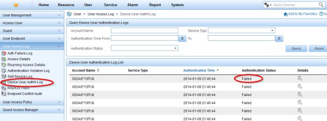 imc uam - msm bad radius accounting - device authn failed